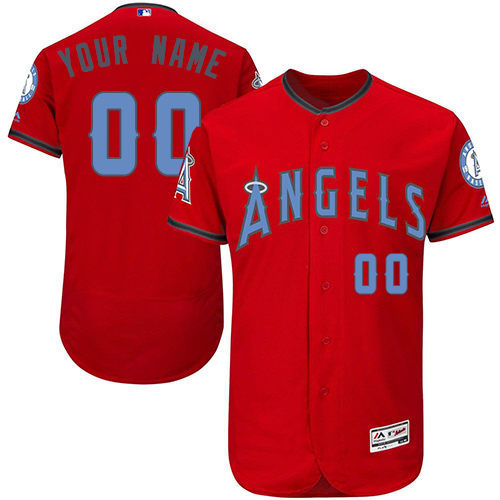 Men's Majestic Los Angeles Angels of Anaheim Customized Authentic Red 2016 Father's Day Fashion Flex Base MLB Jersey