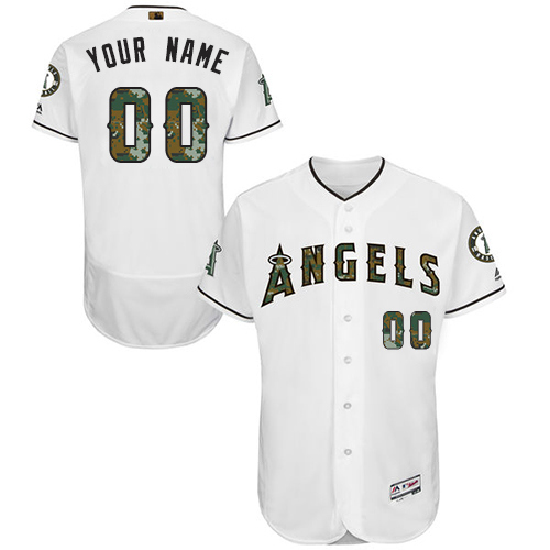 Men's Majestic Los Angeles Angels of Anaheim Customized Authentic White 2016 Memorial Day Fashion Flex Base MLB Jersey