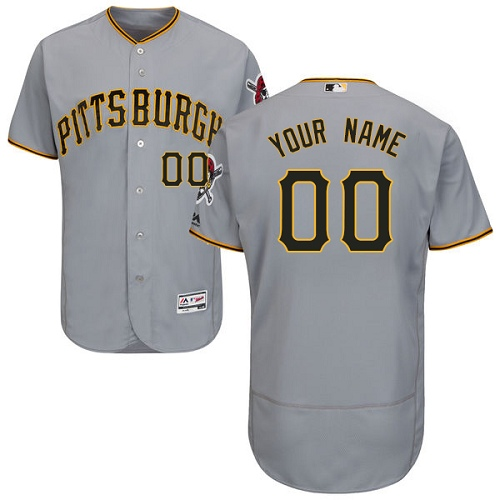 Men's Majestic Pittsburgh Pirates Customized Grey Flexbase Authentic Collection MLB Jersey