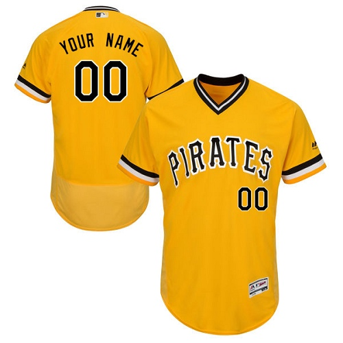Men's Majestic Pittsburgh Pirates Customized Authentic Gold Alternate Cool Base MLB Jersey