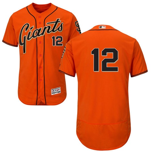 Men's Majestic San Francisco Giants #12 Joe Panik Authentic Orange Alternate Cool Base MLB Jersey