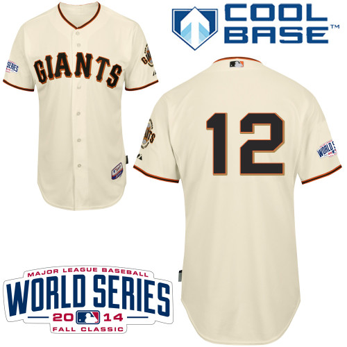 Men's Majestic San Francisco Giants #12 Joe Panik Authentic Cream Home Cool Base w/2014 World Series Patch MLB Jersey