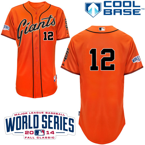 Men's Majestic San Francisco Giants #12 Joe Panik Replica Orange Alternate Cool Base w/2014 World Series Patch MLB Jersey