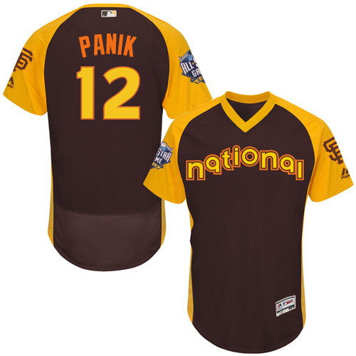 Men's Majestic San Francisco Giants #12 Joe Panik Brown 2016 All-Star National League BP Authentic Collection Flex Base MLB Jersey