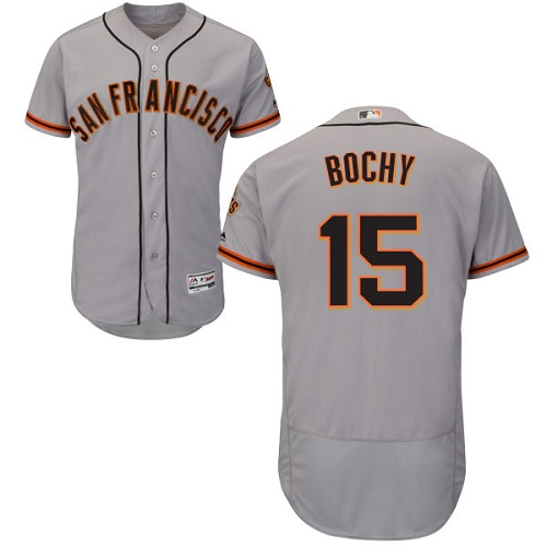 Men's Majestic San Francisco Giants #15 Bruce Bochy Authentic Grey Road Cool Base MLB Jersey