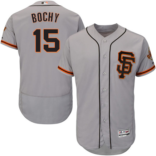 Men's Majestic San Francisco Giants #15 Bruce Bochy Authentic Grey Road 2 Cool Base MLB Jersey