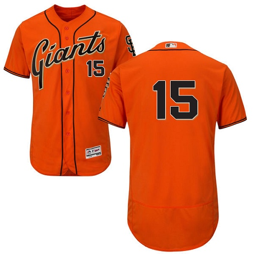 Men's Majestic San Francisco Giants #15 Bruce Bochy Authentic Orange Alternate Cool Base MLB Jersey