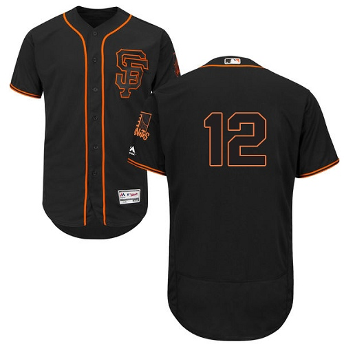 Men's Majestic San Francisco Giants #12 Joe Panik Authentic Black 2015 Alternate Cool Base MLB Jersey