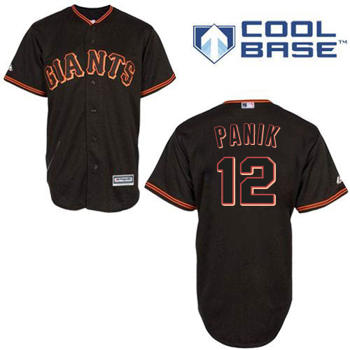 Men's Majestic San Francisco Giants #12 Joe Panik Authentic Black New Cool Base MLB Jersey