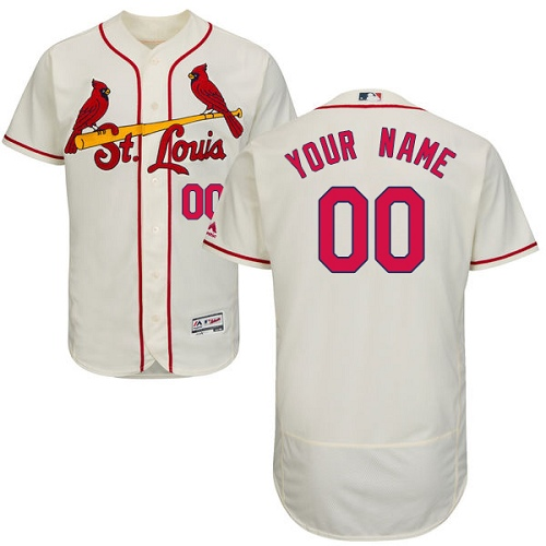 Men's Majestic St. Louis Cardinals Customized Authentic Cream Alternate Cool Base MLB Jersey