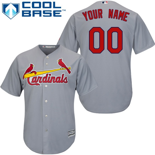 Youth Majestic St. Louis Cardinals Customized Replica Grey Road Cool Base MLB Jersey