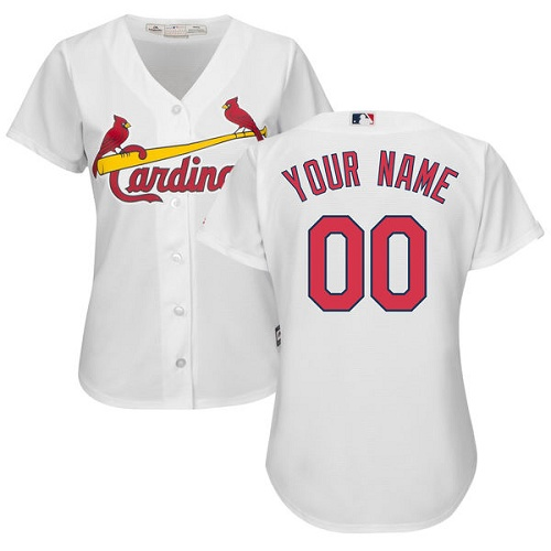 Women's Majestic St. Louis Cardinals Customized Authentic White Home Cool Base MLB Jersey