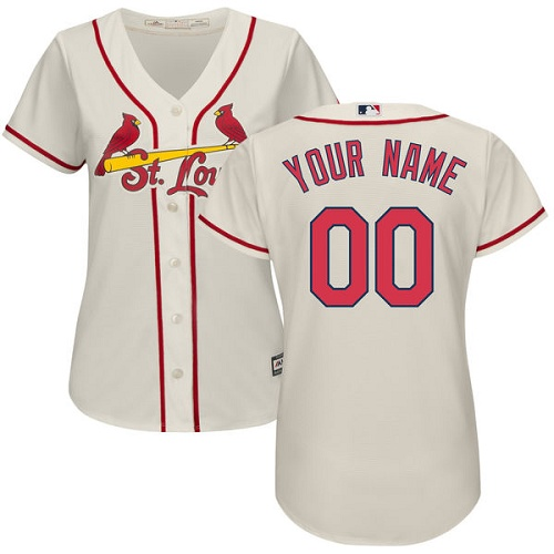 Women's Majestic St. Louis Cardinals Customized Authentic Cream Alternate Cool Base MLB Jersey