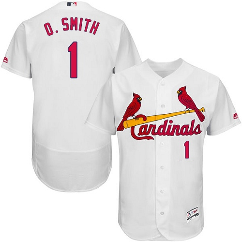 Men's Majestic St. Louis Cardinals #1 Ozzie Smith Authentic White Home Cool Base MLB Jersey