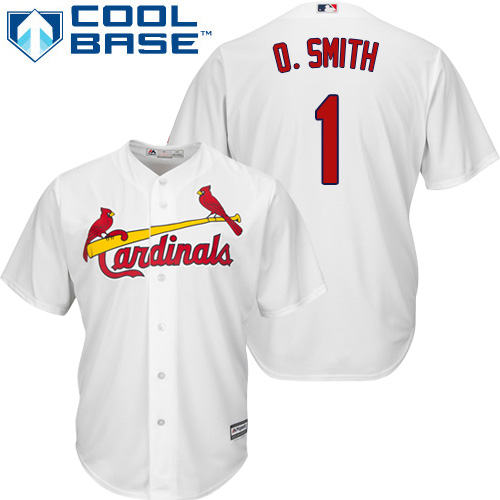 Men's Majestic St. Louis Cardinals #1 Ozzie Smith Replica White Home Cool Base MLB Jersey