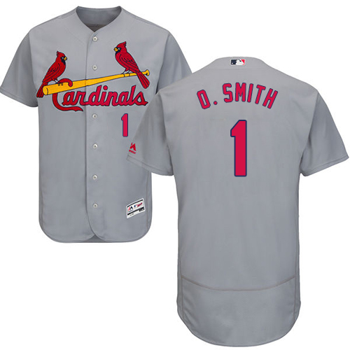 Men's Majestic St. Louis Cardinals #1 Ozzie Smith Authentic Grey Road Cool Base MLB Jersey