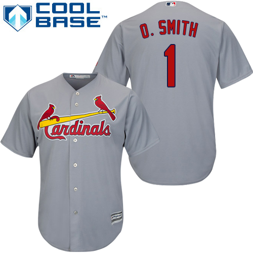 Men's Majestic St. Louis Cardinals #1 Ozzie Smith Replica Grey Road Cool Base MLB Jersey