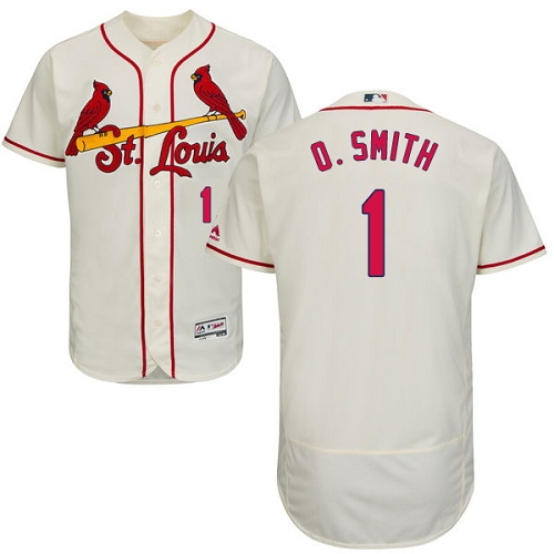 Men's Majestic St. Louis Cardinals #1 Ozzie Smith Authentic Cream Alternate Cool Base MLB Jersey