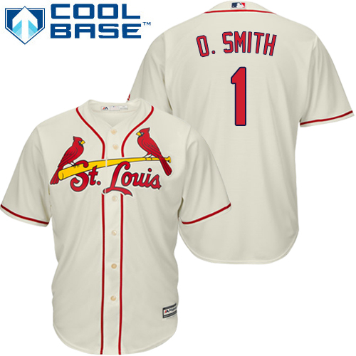 Men's Majestic St. Louis Cardinals #1 Ozzie Smith Replica Cream Alternate Cool Base MLB Jersey