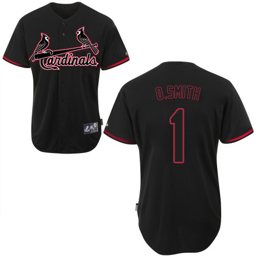 Men's Majestic St. Louis Cardinals #1 Ozzie Smith Replica Black Fashion MLB Jersey