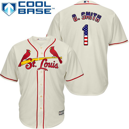 Men's Majestic St. Louis Cardinals #1 Ozzie Smith Authentic Cream USA Flag Fashion MLB Jersey