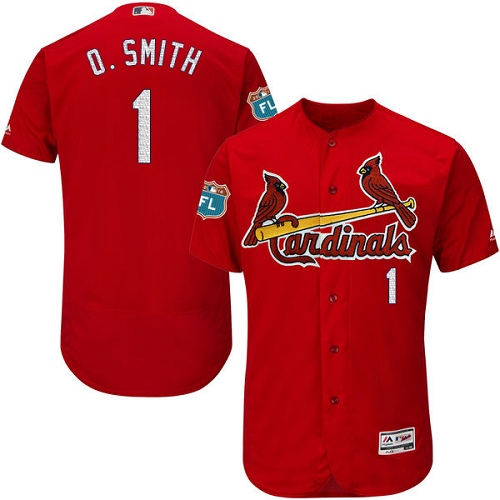 Men's Majestic St. Louis Cardinals #1 Ozzie Smith Authentic Red Cool Base MLB Jersey