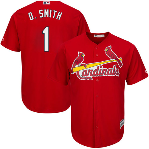 Men's Majestic St. Louis Cardinals #1 Ozzie Smith Replica Red Cool Base MLB Jersey