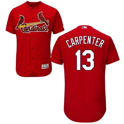 Men's Majestic St. Louis Cardinals #13 Matt Carpenter Authentic Red Cool Base MLB Jersey