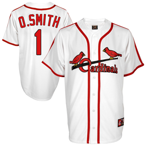 Men's Majestic St. Louis Cardinals #1 Ozzie Smith Replica White Cooperstown Throwback MLB Jersey