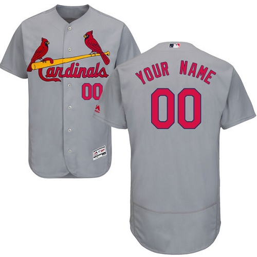 Men's Majestic St. Louis Cardinals Customized Grey Flexbase Authentic Collection MLB Jersey