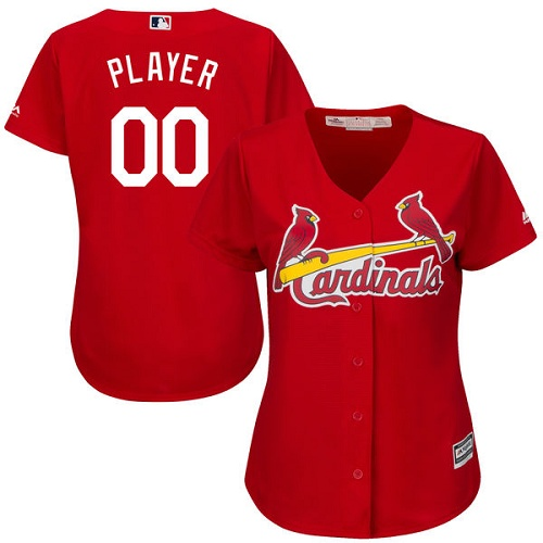 Women's Majestic St. Louis Cardinals Customized Authentic Red Alternate Cool Base MLB Jersey