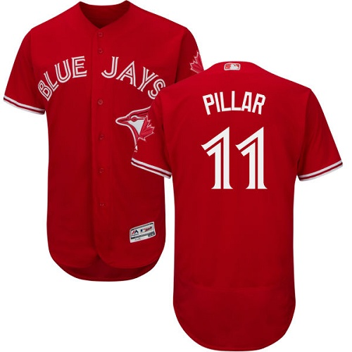Men's Majestic Toronto Blue Jays #11 Kevin Pillar Scarlet Flexbase Authentic Collection Alternate MLB Jersey