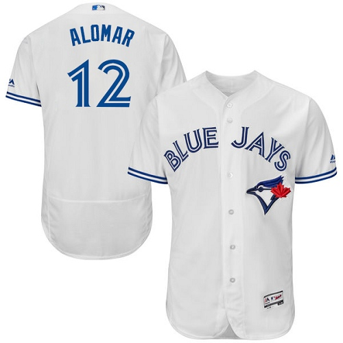 Men's Majestic Toronto Blue Jays #12 Roberto Alomar Authentic White Home MLB Jersey