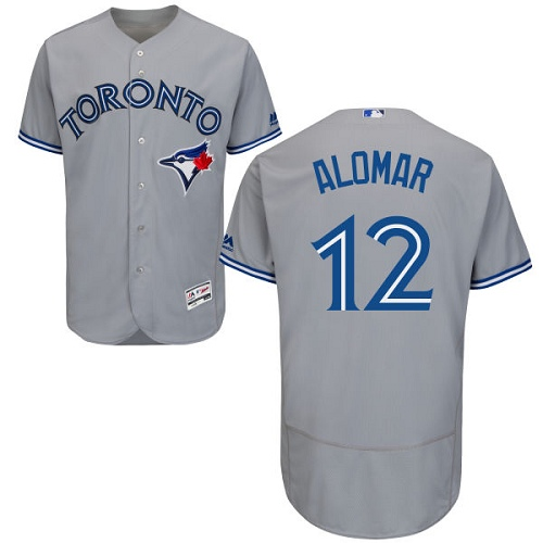 Men's Majestic Toronto Blue Jays #12 Roberto Alomar Authentic Grey Road MLB Jersey