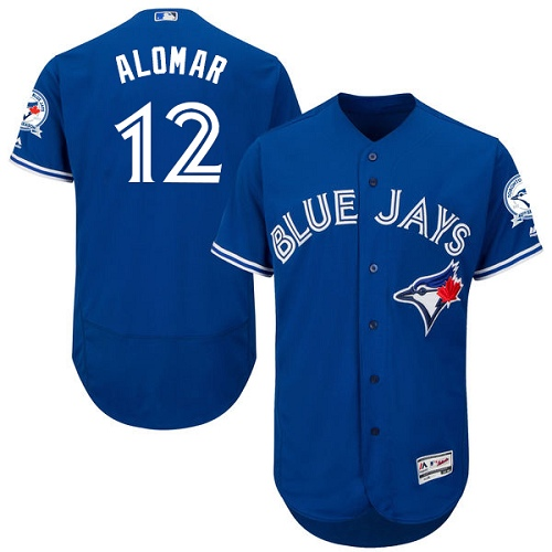 Men's Majestic Toronto Blue Jays #12 Roberto Alomar Authentic Blue Alternate MLB Jersey