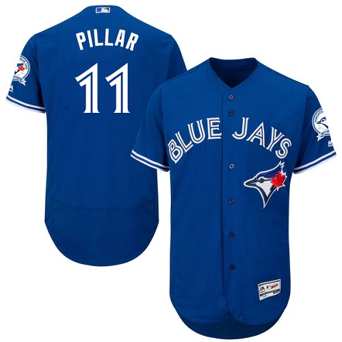 Men's Majestic Toronto Blue Jays #11 Kevin Pillar Authentic Blue Alternate MLB Jersey