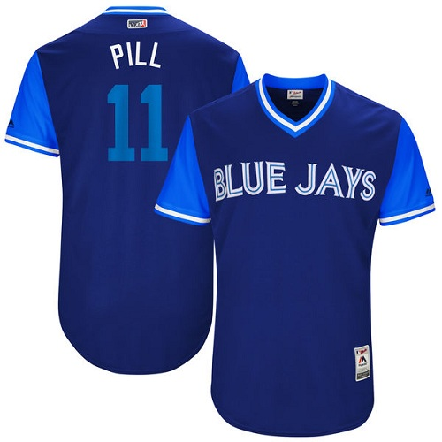 "Men's Majestic Toronto Blue Jays #11 Kevin Pillar ""Pill"" Authentic Navy Blue 2017 Players Weekend MLB Jersey"