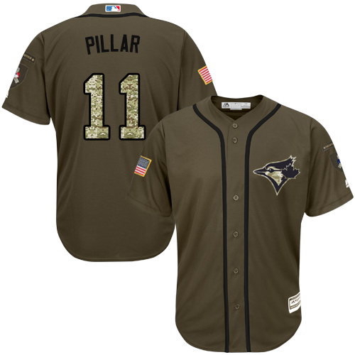Men's Majestic Toronto Blue Jays #11 Kevin Pillar Replica Green Salute to Service MLB Jersey