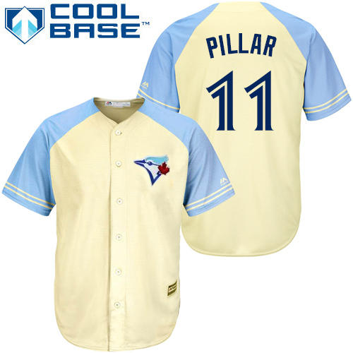 Men's Majestic Toronto Blue Jays #11 Kevin Pillar Replica Cream Exclusive Vintage Cool Base MLB Jersey