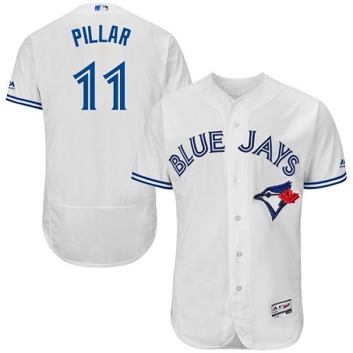 Men's Majestic Toronto Blue Jays #11 Kevin Pillar White Flexbase Authentic Collection MLB Jersey