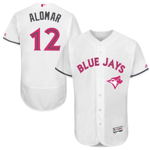 Men's Majestic Toronto Blue Jays #12 Roberto Alomar Authentic White 2016 Mother's Day Fashion Flex Base MLB Jersey