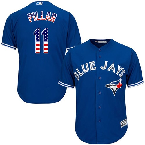Men's Majestic Toronto Blue Jays #11 Kevin Pillar Replica Royal Blue USA Flag Fashion MLB Jersey