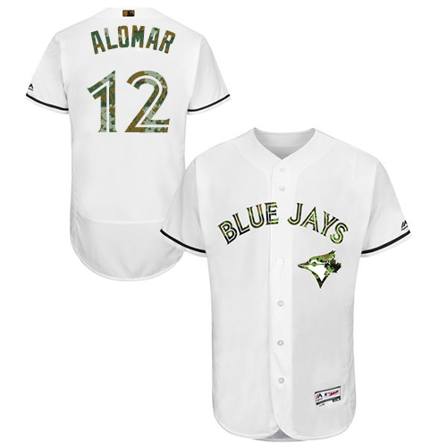 Men's Majestic Toronto Blue Jays #12 Roberto Alomar Authentic White 2016 Memorial Day Fashion Flex Base MLB Jersey