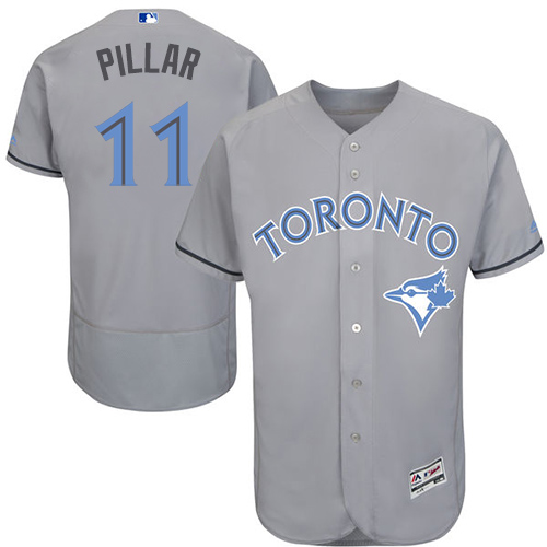 Men's Majestic Toronto Blue Jays #11 Kevin Pillar Authentic Gray 2016 Father's Day Fashion Flex Base MLB Jersey