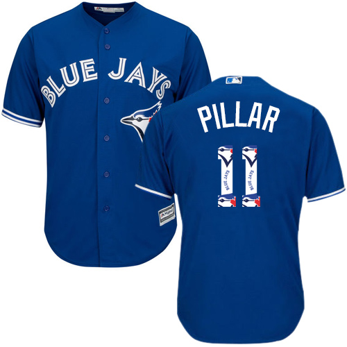Men's Majestic Toronto Blue Jays #11 Kevin Pillar Authentic Blue Team Logo Fashion MLB Jersey