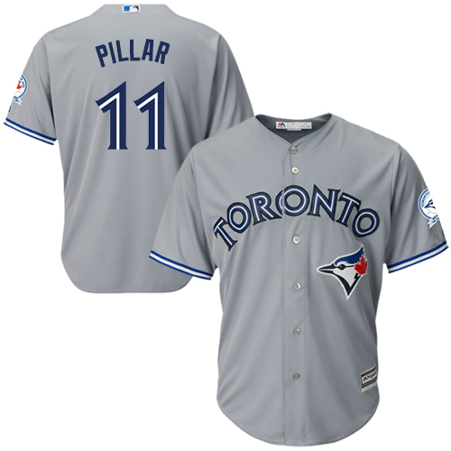 Men's Majestic Toronto Blue Jays #11 Kevin Pillar Replica Grey Road 40th Anniversary Patch MLB Jersey