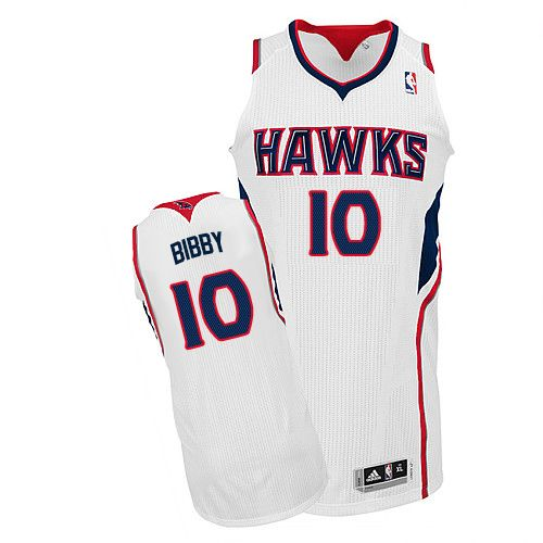 Men's Adidas Atlanta Hawks #10 Mike Bibby Authentic White Home NBA Jersey