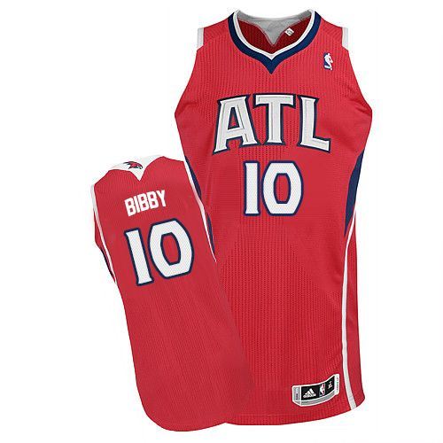 Men's Adidas Atlanta Hawks #10 Mike Bibby Authentic Red Alternate NBA Jersey