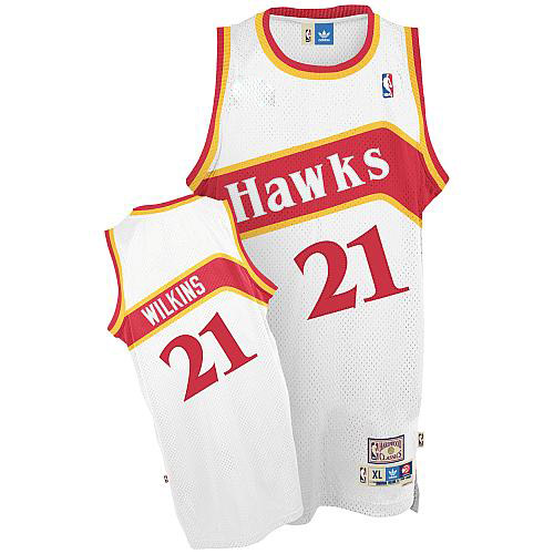 Men's Adidas Atlanta Hawks #21 Dominique Wilkins Authentic White Throwback NBA Jersey