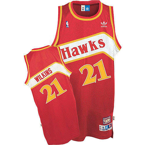 Men's Adidas Atlanta Hawks #21 Dominique Wilkins Authentic Red Throwback NBA Jersey